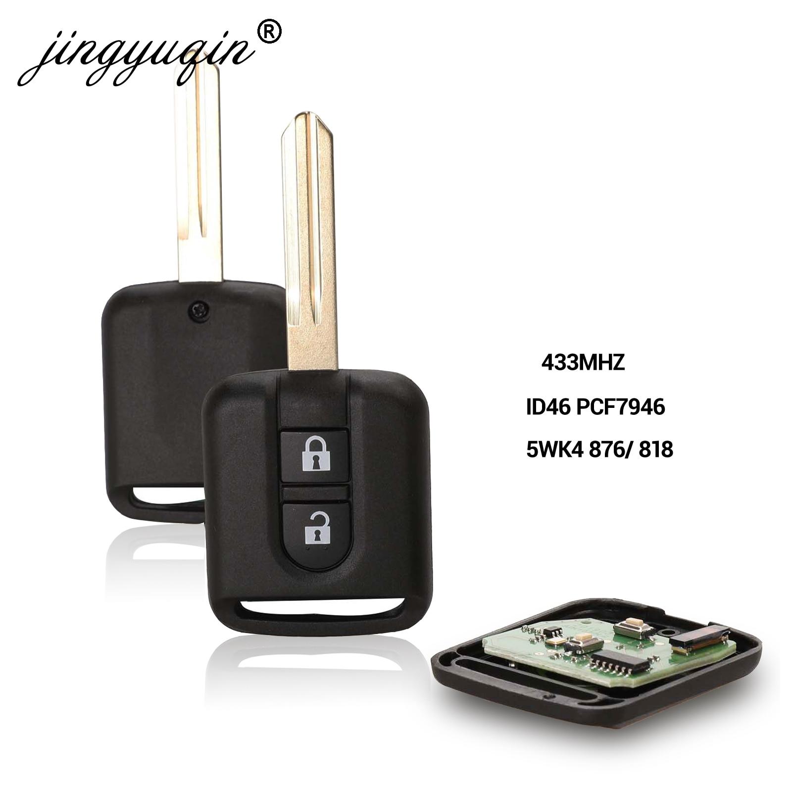 Jingyuqin 5WK4 876/ 818 433MHz ID46 Chip Key Fob For Nissan Elgrand X-TRAIL Qashqai Navara Micra Note NV200 2 Button Remote Key