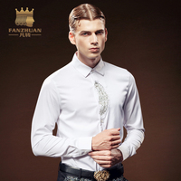 FANZHUAN Featured Brands Sale Men's White Shirts Fashion Camicie Style Long Sleeve Plus Size Cotton Men's Slim Fitted Shirting
