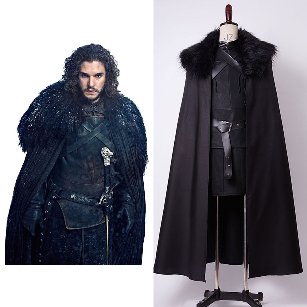 Game of Thrones Cosplay Stark Jon Snow Costume Night's Watch Outfit Cosplay Costume Full Set Belt+Cloak+Gloves+Straps+Top+Vest