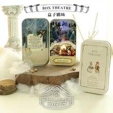 Поддержку театр мечта миниатюрный кукольный металлический деревянный ящик дом снег куклы