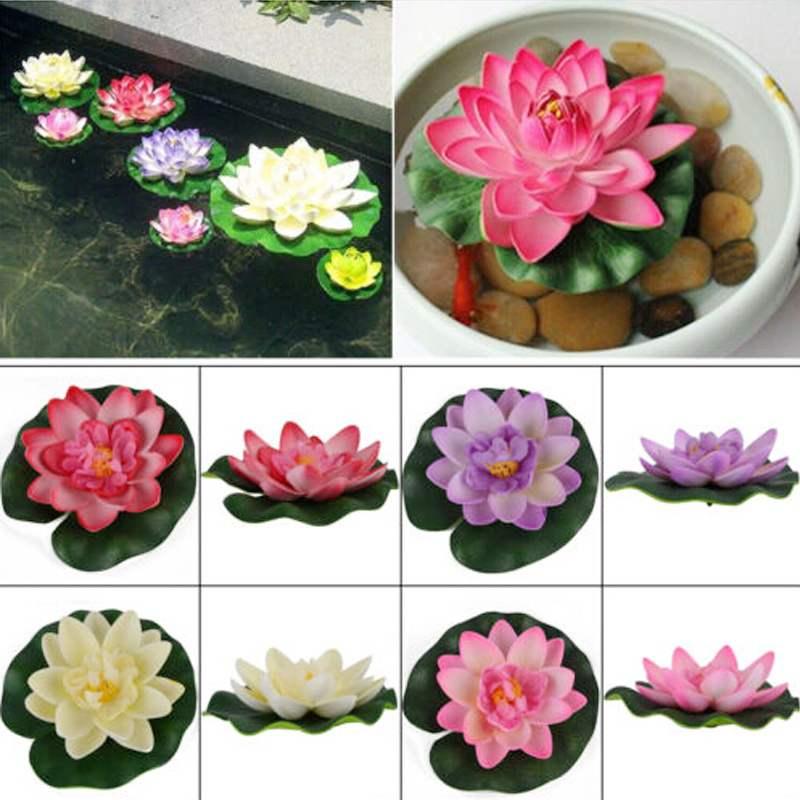Beautiful mini diy eva plastic artificial water lotus for Plastic floating pond plants