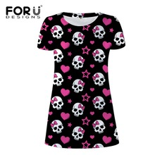FORUDESIGNS Candy 3D Skull Prints Women Dress Summer Bodybuilding Slim Woman Dresses Vestidoes Mujer Sexy Beach Ladies Clothes