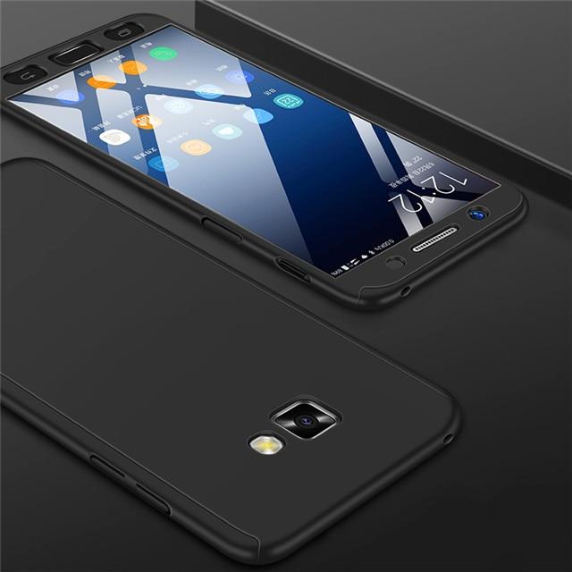 Модные 360 противоударный полное покрытие для samsung Galaxy A3 A5 J1 J3 J5 J7 J2 Prime A7 A6 A8 J4 J6 плюс чехол для телефона - Цвет: Черный