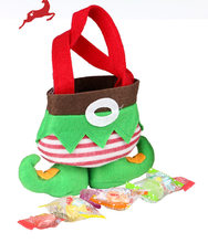 Elf pants style with sand can stand on its own Candy Bags Christmas Gift Bag Xmas Bag(China)