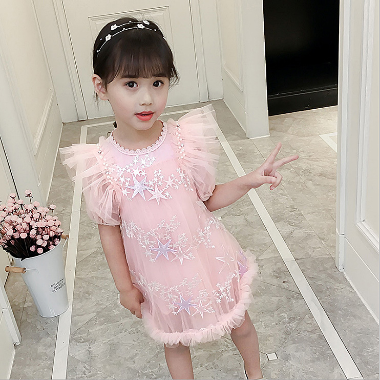 6264 Star Embroidery Tulle Princess Party Girls Dress A-line Summer Kids Dresses For Girls Wholesale Baby Girl Clothes 6P Lot