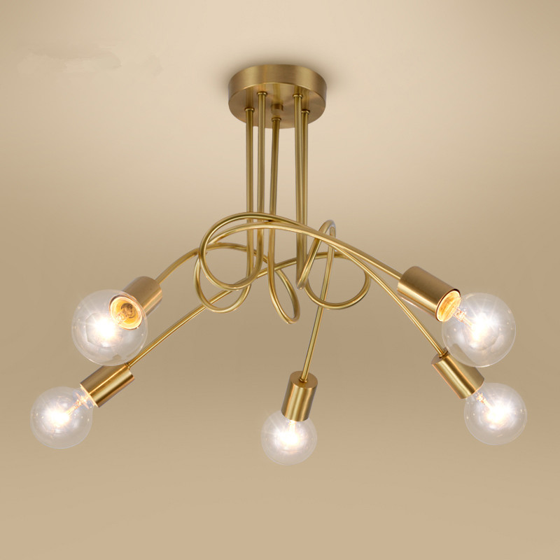 modern Scandinavian minimalist personality European copper ceiling lighting living room American Village Restaurant lamp