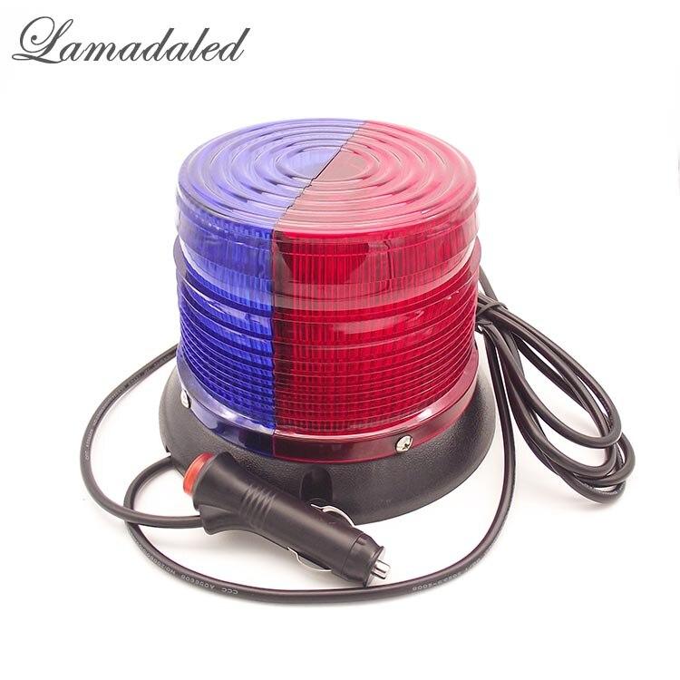 Lamadaled 12V 24V 16cm red blue round led police strobe light beacon fire engine emergency car roof warning lamp with magnetic