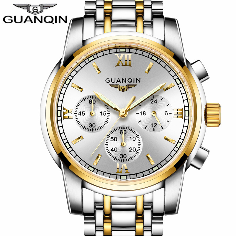 GUANQIN Mens Watches Top Brand Luxury Quartz Watch Men Sport Chronograph Luminous Hands Full Steel Wristwatch relogio masculino mens watches top brand luxury guanqin watch men automatic self wind luminous clock sport full steel wristwatch relogio masculino