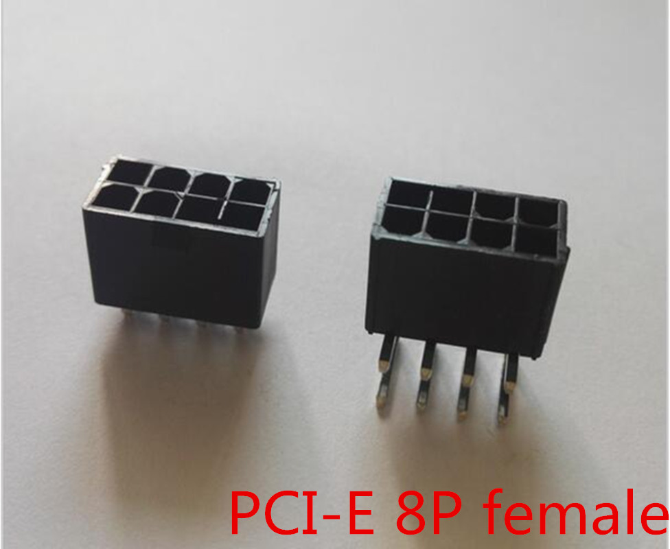 5559 4.2mm black 8P female socket Straight or Curved needle for PC computer ATX graphics card GPU PCI-E PCIe Power connector good quality 10pcs black 6pin pci e female molex connector 4 2mm 5559 gpu connector