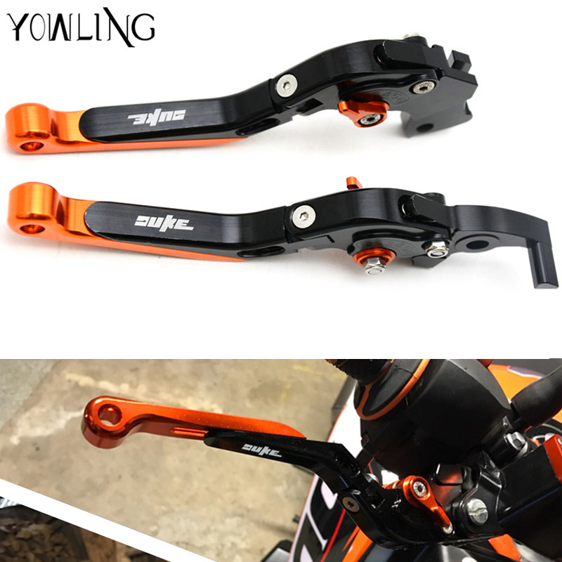 Motorcycle CNC Pivot Brake Clutch Levers Adjustable foldable Levers With DUKE logo For KTM Duke 390 690 R 200 Duke RC 250 990 cnc motorcycle billet rear brake pedal step tips pedal for ktm 690 smc supermotor enduro 690 duke 950 990 adv 125 200 390 duke