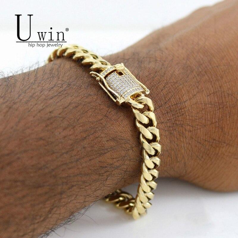 UWIN 10 мм мужской кубинский браслет из Майами звено Стразы застежка ледяной Золотой Серебряный цвет браслет-цепочка из нержавеющей стали 21 см
