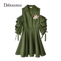 Dabuwawa 2018 Green Spring Half Sleeve Dress Sexy V Neck Open Shoulder Dress Vintage A Line