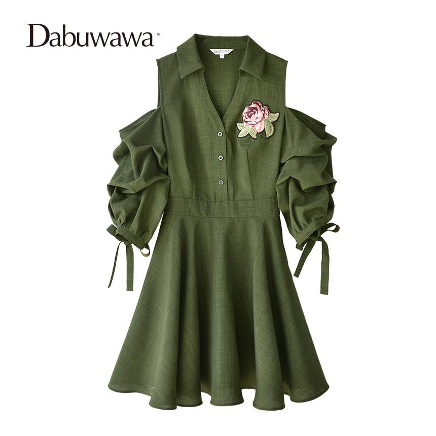 Dabuwawa открытыми плечами зеленый длинный Тренч Платье Осень 2018 пояс платье с средним рукавом Сексуальная V шеи Цветочный принт платье