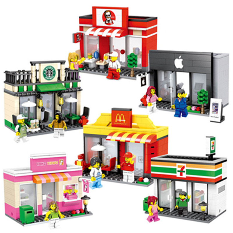 Mini Street Model Store Shop with Apple Store McDonald`s Building Block Toys Compatible with Legoingly Hsanhe Gift for children managing the store
