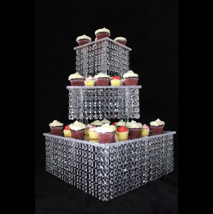 Wedding Cupcake Stand Ideas: 3 Tier Crystal Cake Stand Square Acrylic Cupcake Stand