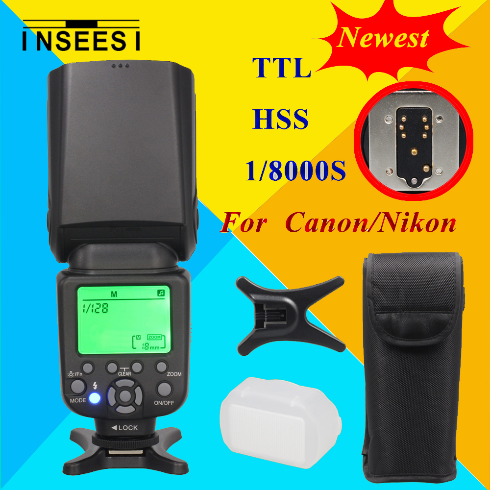 For Nikon Canon DSLR Camera Speedlite HSS 1/8000s TTL Flash Speedlight INSEESI IN586EXII VS YONGNUO YN565EX YN568EX YN-565EX meike dslr camera built in 2 4g battery grip for canon eos 7d mark ii as bg e16