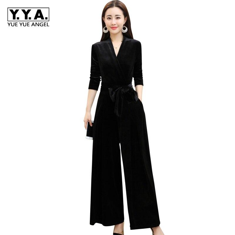 Combinaisons Pour Les Femmes De Mode Coréenne Taille Haute Jambe Large combinaison pour femmes Élégant Col En V Slim Fit combinaison femme Salopette grande taille