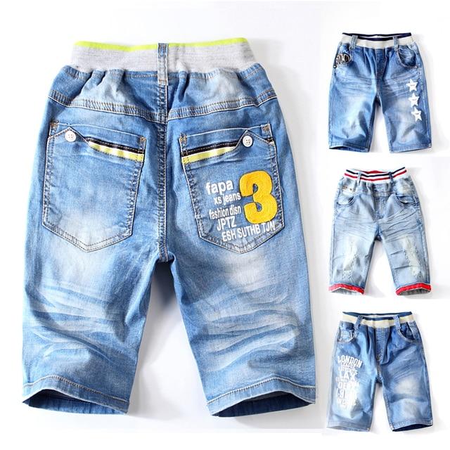 Verano de algodón Niño Junta agujero chico de la mitad de vaqueros pantalones cortos para el pequeño chico de los niños de la moda Denim caliente nueva llegada 2018 ropa