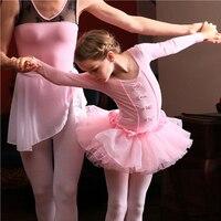 Top Quality Children Professional Ballet Tutus Dance Costume For Girls Short Long Sleeve Add Velvet Swan