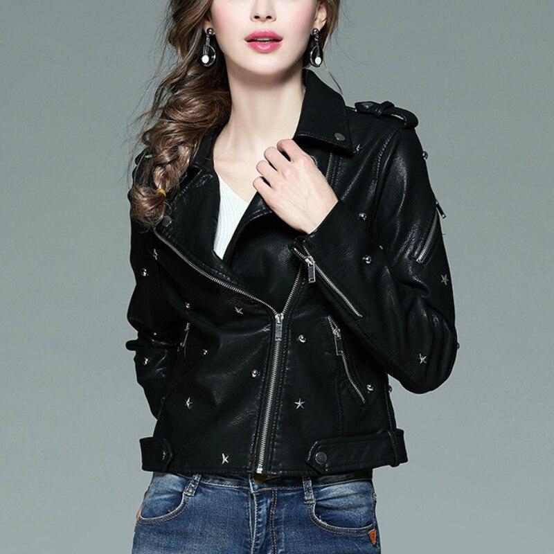 Printemps automne Faux cuir manteau femmes étoiles Rivet noir doux PU cuir court veste manteau moto Biker veste femmes