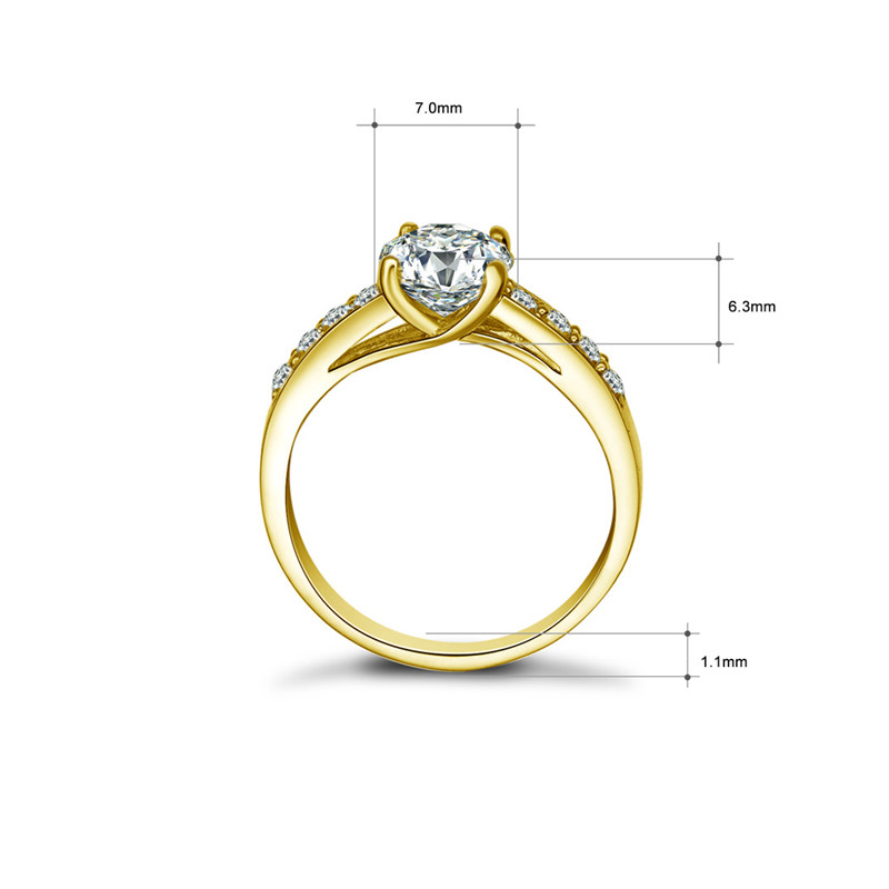 AINUOSHI Real 14K Solid Gold Engagement Rings Channel Setting Round Simulated Diamond Fine Jewelry Women Wedding Ring Customized-in Rings from Jewelry & Accessories    2
