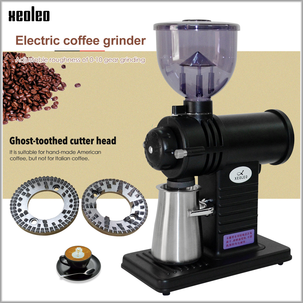 Xeoleo Electric Coffee Grinder Flat Wheel Burr Grinder Coffee Miller Superhard Ghost Tooth Cutter Coffee Milling Machine 10 Step
