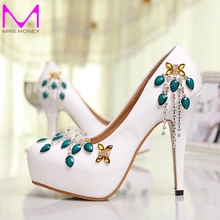 2016 Spring Summer New Shoes Woman High Heels Platform Pumps Fashion Sexy Women Pumps Ladie Party Dress White Wedding Shoes