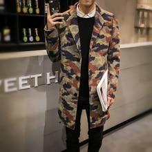 Erkek Mont Coat Men Fashion 2016 Thicken Winter Jacket Men Camouflage Single Breasted Casual Woolen Mens Coats Overcoats 5XL-M