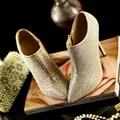 2015 de lujo rhinestone Lleno de cuero Genuino mujeres de la moda sexy bombas nuevas mujeres del alto talón zapatos de boda más el tamaño Eur 33-42
