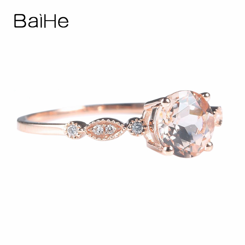 257 93 17 De Reduction Baihe Solide 14 K Or Rose Au585 Morganite Naturelle Diamants Bague De Fiancailles De Mariage Femmes Fete A La Mode