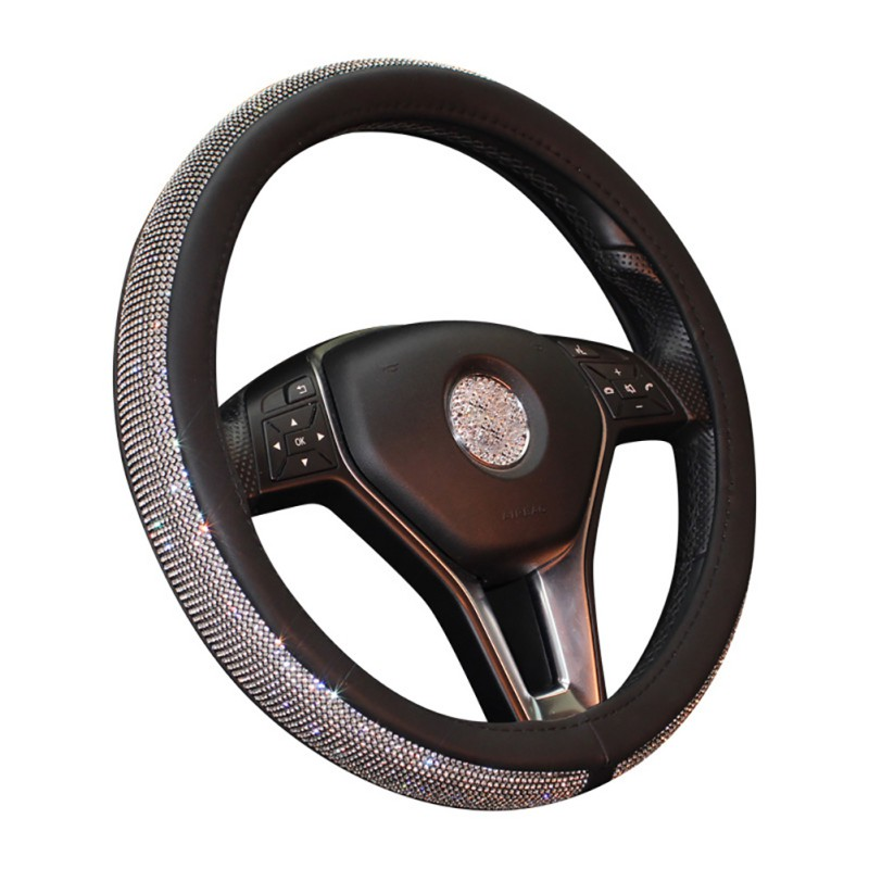 Car Steering Wheel Cover Leather Crystal Rhinestone covered Steering-Wheel Covers Interior Accessories vintage leather steering wheel cover flower printing women s car steering wheel covers for girls car steering accessories