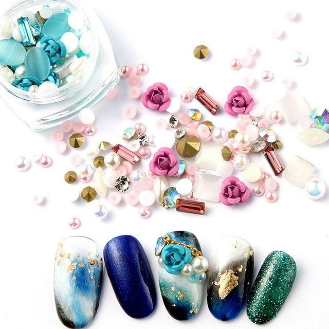 1Box Hot Sale Rose Flowers Nail Glitters Beauty 3D Mix Gems Nail Art ...