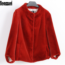 Nerazzurri Faux fur jacket women black red pink colored fake fur coat short plus size furry artificial fur outwear 5xl 6xl 7xl
