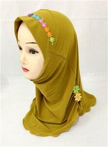 Image 4 - Muslim Girls Hijab Kids Wrap Shawl Islamic Head Scarf Amira One Piece Hijab Cap