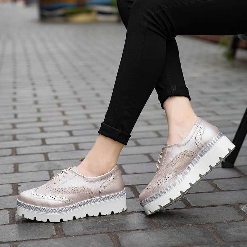 2020 delle Donne della Molla del Cuoio Genuino Brogue Scarpe Delle Signore Piatto Fannulloni Della Piattaforma Scarpe di Moda casual Scarpe Per Le Donne