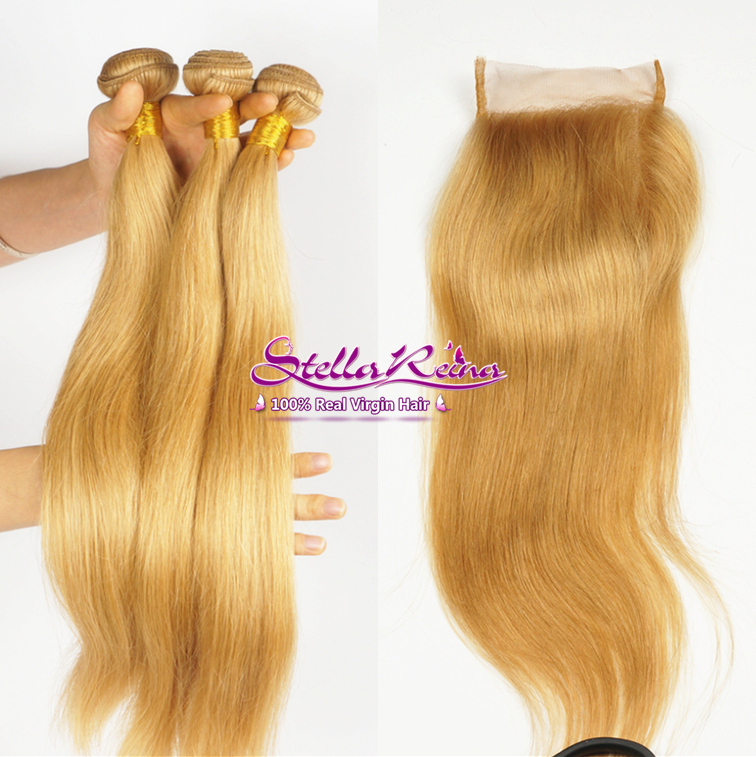 #27 Honey Blonde Peruvian Hair Silky Straight Weave 3 Bundles With 4x4 Lace Closure Blonde Human Hair Closure With Bundles