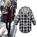 YONO New Fashion Women Hoodies Plaid Sweatshirts Hooded Sudaderas Feminino Outwear Coat Cotton Casual Jacket Plus Size 5XL Hoody