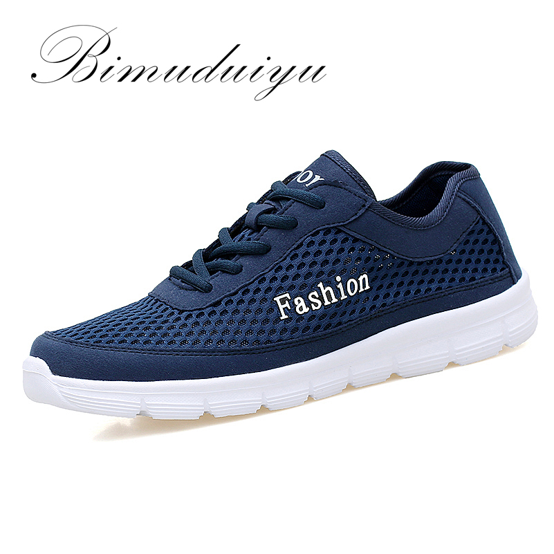 BIMUDUIYU Size 38-48 Mens Fashion Comfortable Breathable Mesh Shoes Lightweight Casual Nets Cool Flats Tenis Masculino Adulto