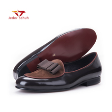 Men loafers Stitching leather leather loafer bow three color collocation wedding and party shoes