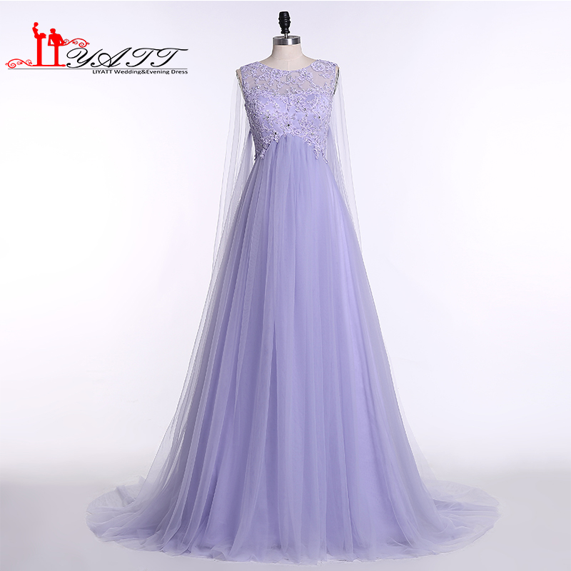 LIYATT Real Picture 2016 Lilac Purple Appliques Lace Beads Long Pregenat Cute Princess Arabic Dubai Cheap Prom Evening Dress image
