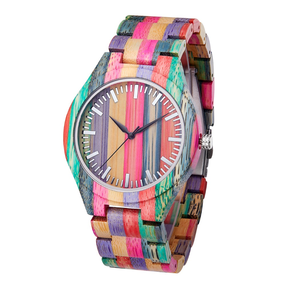 TJW 2019 New Fashion Quartz Colorful Bamboo Dial Modern Wristwatch Best Gift For Men In Wooden Box TJW 2019 New Fashion Quartz Colorful Bamboo Dial Modern Wristwatch Best Gift For Men In Wooden Box