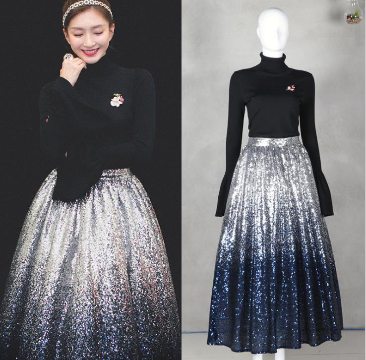 Mifairy 2018 Black Turtleneck Long Sleeves Leafs Pearls Decoration Women's Sweaters And  Silver Gradient Sequins Women's Skirts