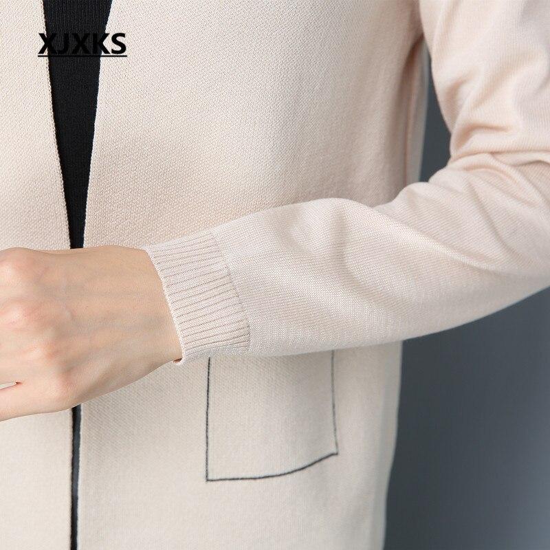 Xjxks Automne Chandail Broche Conception Vêtements kaki bourgogne Chandails orange Unique Manteau bleu Cardigans Dames 2017 Mode Femmes Beige Faux Poches 2WYeEDHb9I