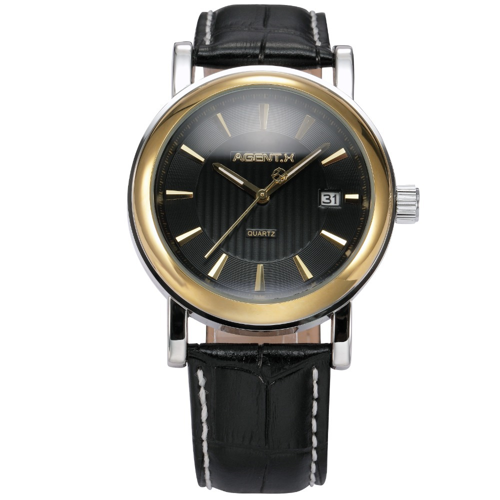 AGENTX Brand Day Black Dial Gold Full Steel Case Leather Strap Male Relogio Quartz Wristwatch Men Dress Business Watch / AGX023 rosra brand men luxury dress gold dial full steel band business watches new fashion male casual wristwatch free shipping