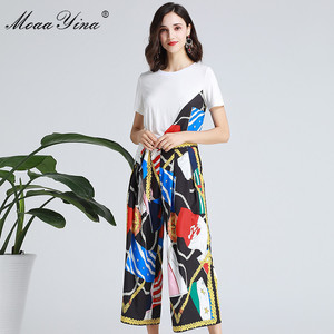 Image 3 - MoaaYina Fashion Designer Set Spring Summer Women Short sleeve Ribbon T shirt+Stripe Print Wide leg bell bottoms Two piece suit