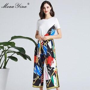 Image 3 - MoaaYina ensemble de créateurs de mode printemps été femmes à manches courtes ruban T shirt + rayure imprimé large jambe cloche bas costume deux pièces