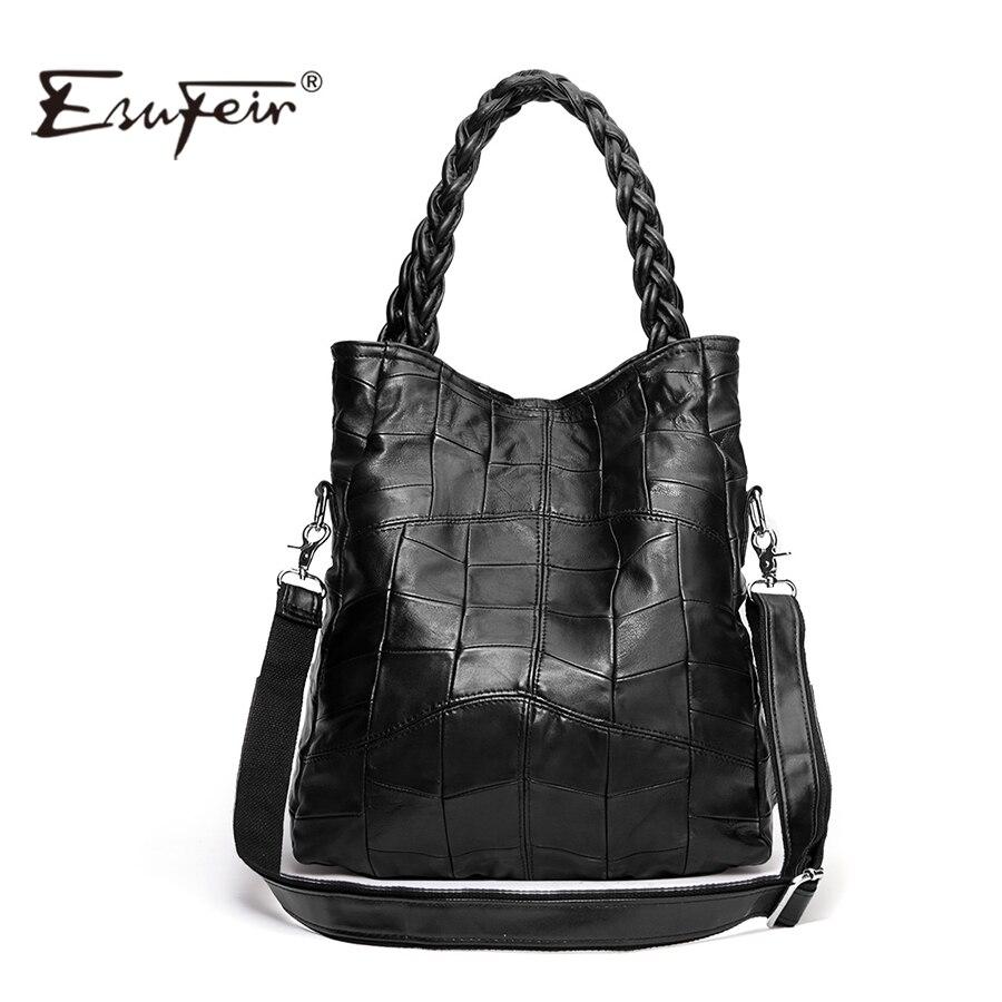 New 2017 Fashion Genuine Leather Women Handbag Patchwork Natural Sheepskin Shoul