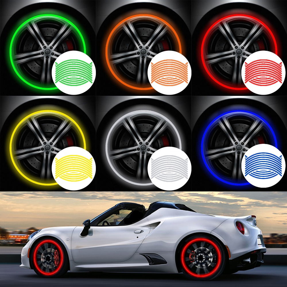 "16Pcs Strips Reflective Motocross Bike Motorcycle Wheel Stickers And Decals 14"" 17"" 18"" Reflective Rim Tape 5 Colors Car Styling"