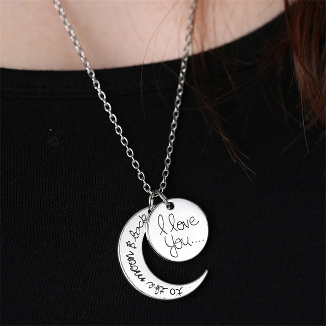 I Love You To the Moon and Back Silver Necklace Love Forever Moon Choker  Pendant Necklace for women Men couple lovers gifts d35b3ae79