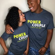 2018 Valentines 's Day Gift Sweet Couple T Shirt Summer Women POWER COUPLE Short Sleeve T Shirts Funny Letter Tee Tops Lover Tee